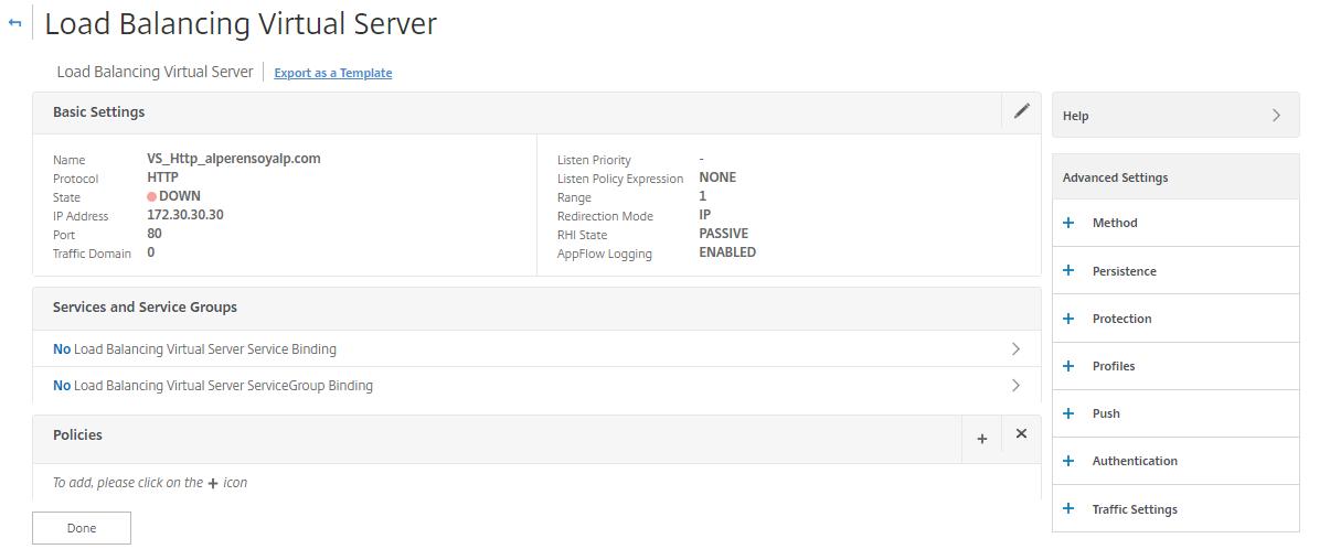 load balancing virtual server