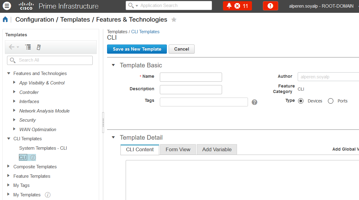 create cli template prime