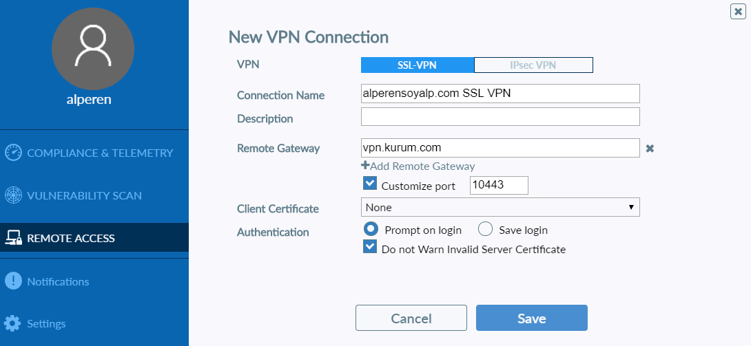 ssl vpn add new